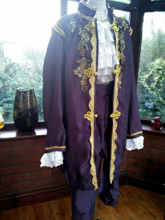 Custom made costume prince stage party theatre jacket frilled cravat hat pants and shirt custom made to your own measurements and color