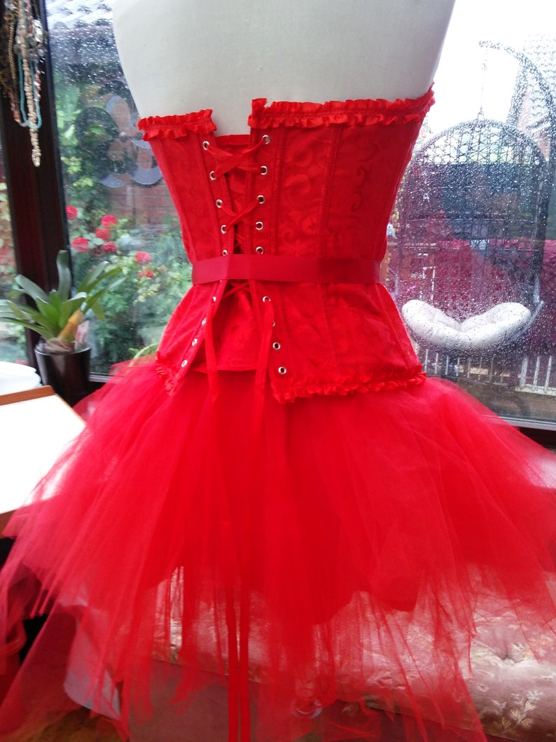 Red Riding hood corset costume with large hooded cloak Halloween xmas party boned brocade corset with frilled net tutu skirt fits UK 1214