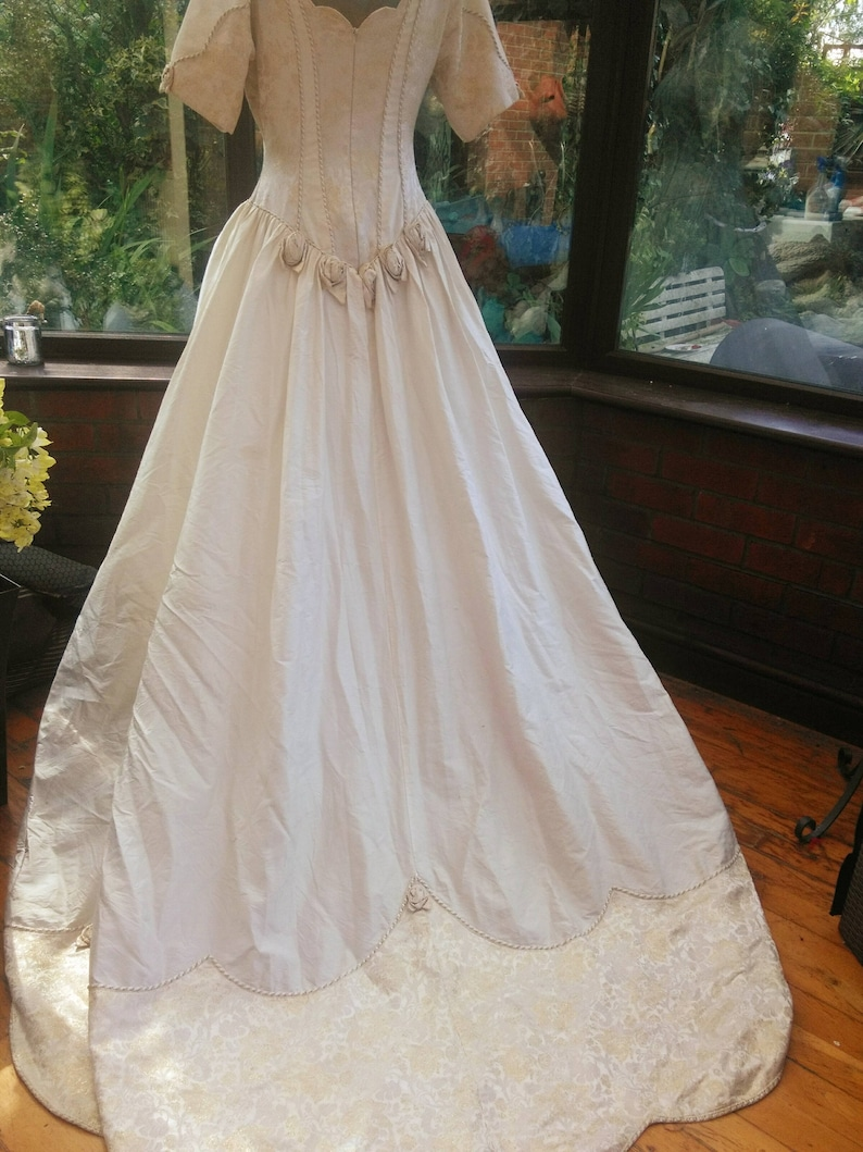Silk Ivory Gold Wedding Dress Fairytale Dress With Train Has Etsy