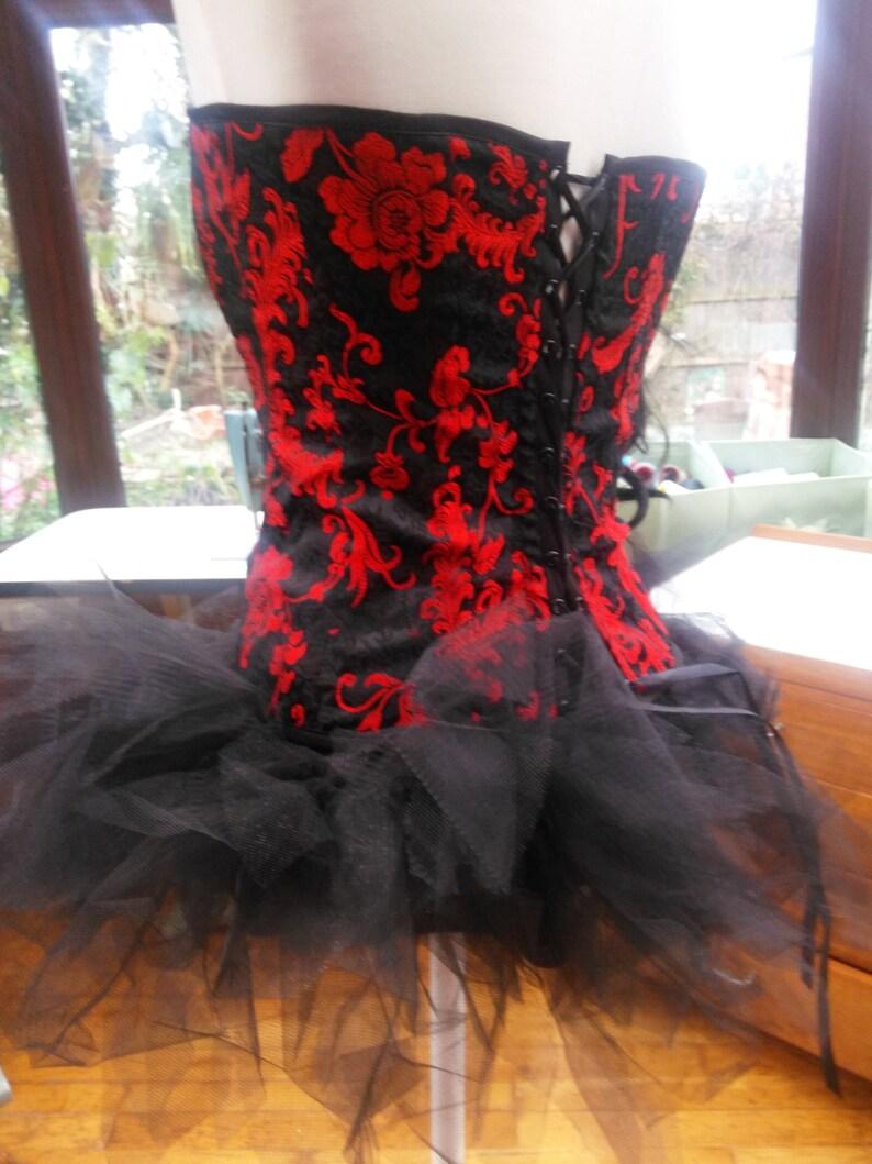 size UK12 USA 6 Corset dress wedding burlesque party black tutu lace trim corset lace up back with frilled net skirt and choker necklace