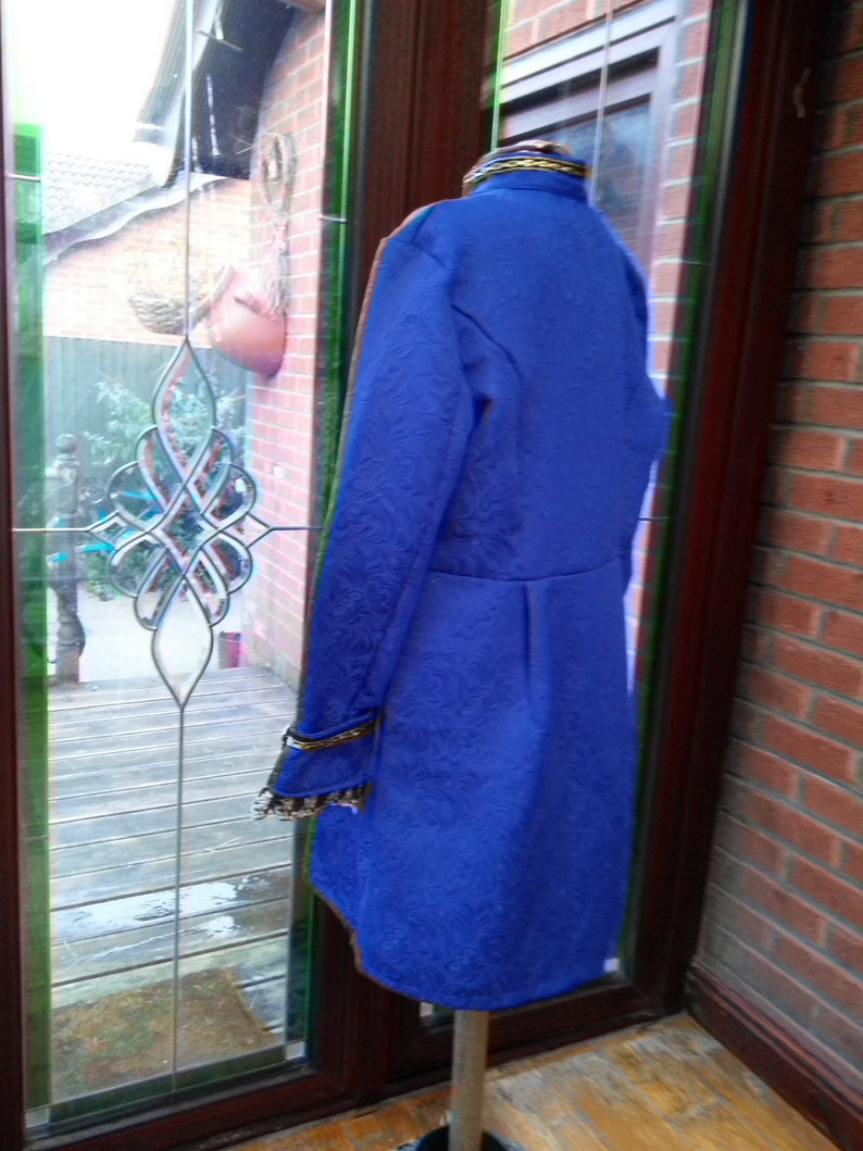 Regency unisex Ready made 40inch chest royal blue gold trim jacket waistcoat cravat ready to send