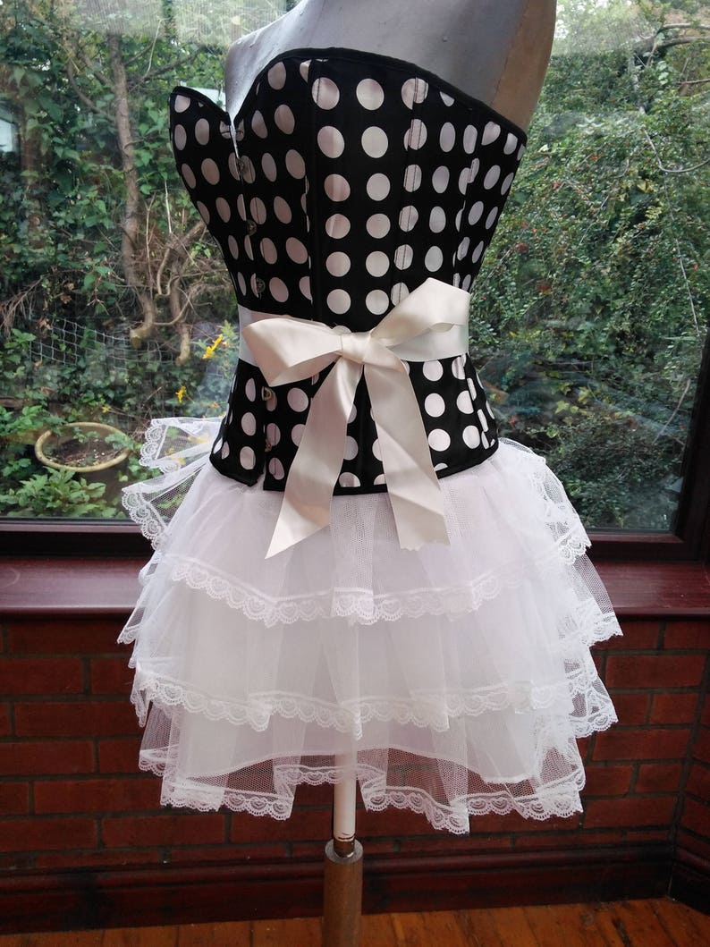 3109f884309 SALE corset dress boned spotted black and white frilled net