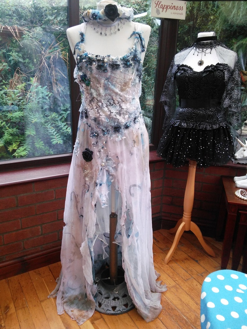 Custom made to measure Corpse Bride dress costume veil /& headdress boned ajustable lace up back corset with distressed long net  skirt