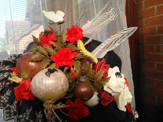 Day of the dead carnival party Halloween hat headdress handmade with flowers butterflies pearls feather ribbon and spiders free size