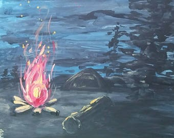 Camping Escape 12X12 Painting