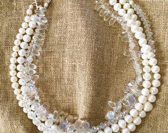 Four strand Pearl and Crystal Necklace,  Sparkle Necklace, 19 inch  four strand white Pearl and Clear Crystal Necklace