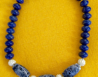 Dramatic Blue Lapis Necklace, Lapis Necklace with Carved Sodalite Center Beds, Sky Blue Lapis Necklace, WOW Lapis Necklace