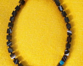 Patterned Black Onyx Necklace,  Onyx and Quartz Necklace, Dramatic Black Onyx Necklace, 20 inch Black Onyx Necklace,