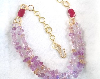 Amethyst and Rhodolite Cabochon Necklace, Amethyst and Gold Chain Necklace, Lavender and Red Combination Necklace,  Amethyst Necklace