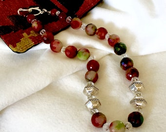 Red and Green Faceted Fire Agate Beaded Necklace, Red and Touch of Green Necklace, Red Fire Agate Necklace, Party Red Necklace