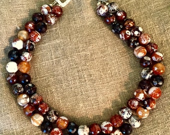 Black-Rust-White Fire Agate Two Strand Collar Necklace, Earth Tone Faceted Fire Agate Necklace, Colorful Fire Agate Two Strand Necklace