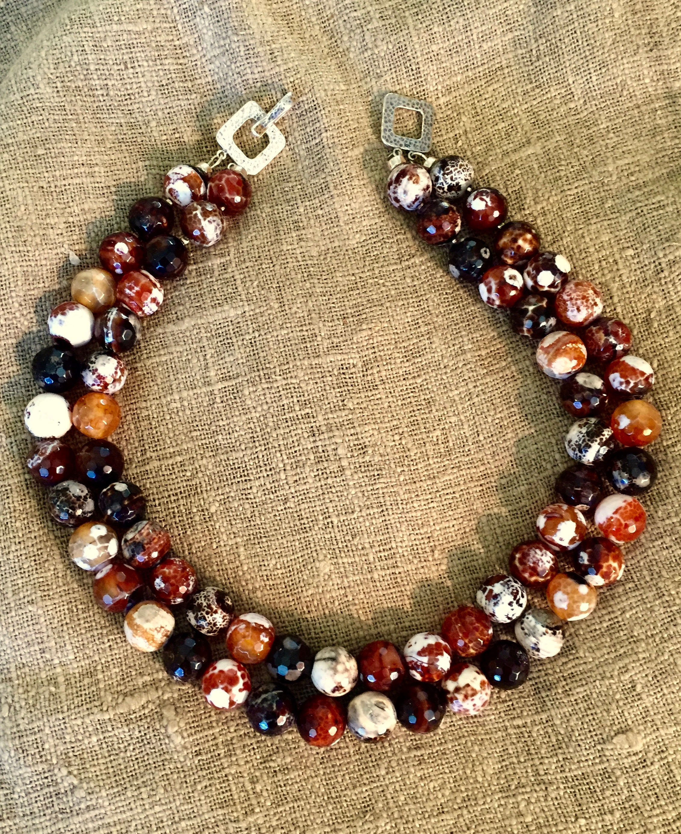 Fire agate collar necklace