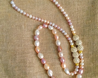 Variegated Pearl Rope Necklace, Pastel Pearl Rope Necklace, Pearl and Decorative Bead Necklace, 30 inch Pearl Rope Necklace