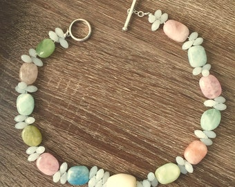 Spring-Summer Morganite Gemstone Necklace,  Pastel Gemstone Necklace with Opaque Crystal accents,  Summer wear Necklace, Feminine Necklace