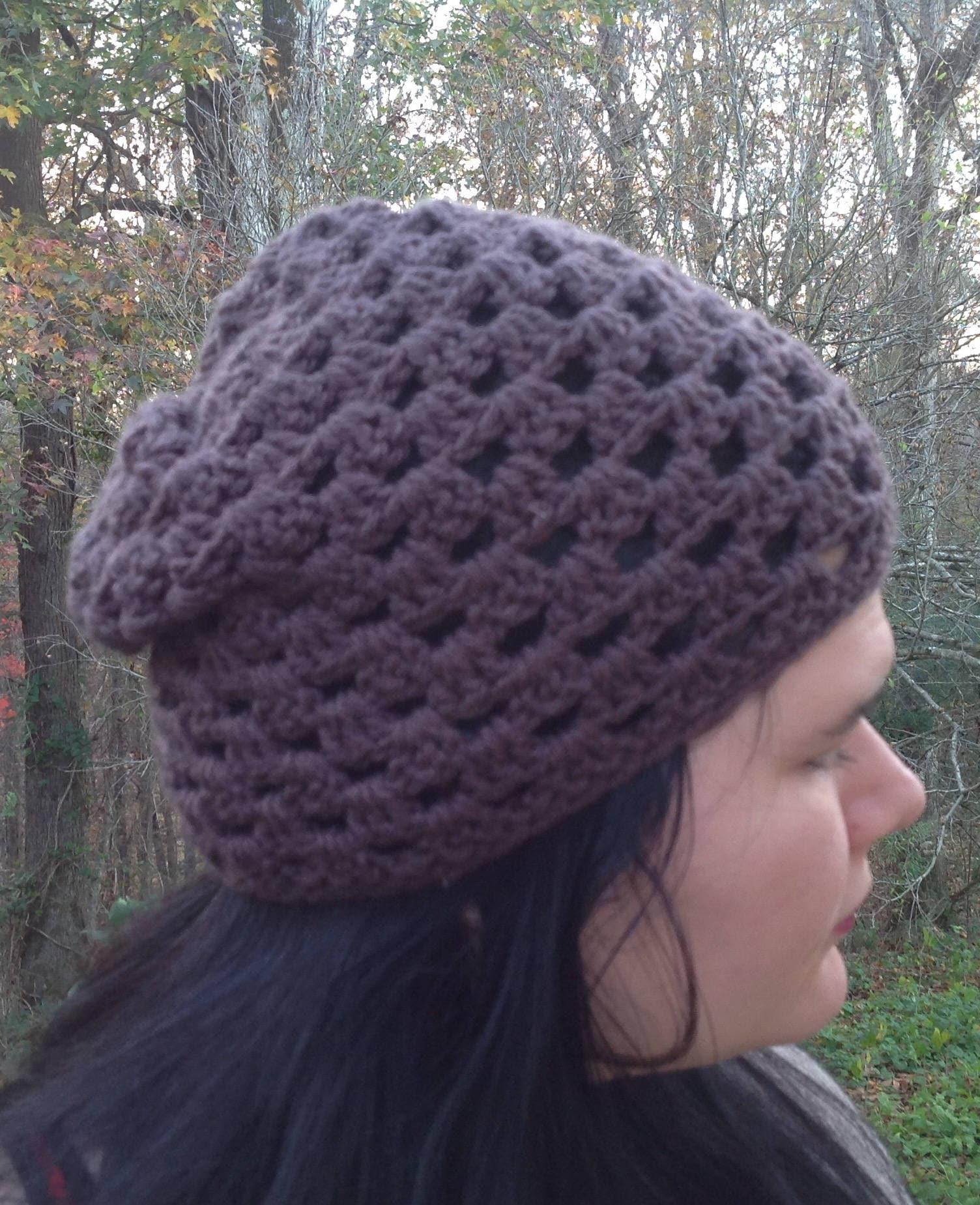 Pattern PDF File, Granny Mesh Crochet Slouchy Hat Pattern