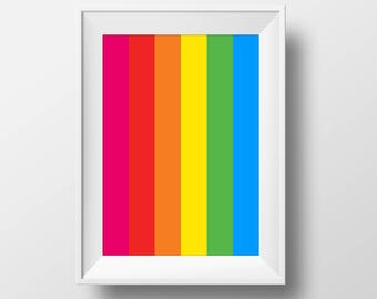 Polaroid Inspired Rainbow Colours Film Box Art Print Poster Vertical Retro 60s 70s 80s Blue Green Yellow Orange Red Pink Purple LGBT