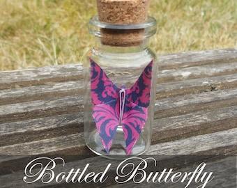 Bottled Origami Butterfly - Pink & Violet
