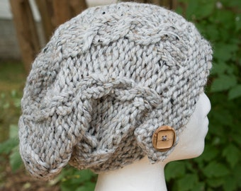Cable Knit Slouchy Hat with Wood Button Detail - LOTS of Color Options - Red, Yellow, Purple, Green, Brown, Grey, Black, Blue, Multi