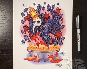 SING a SONG of SIXPENCE Plague Doctor Bird 8.5 x 11 Signed Artwork Print by Jin Wicked