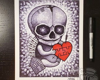 LEGACY Skull Fetus 8.5 x 11 Signed Artwork Print by Jin Wicked