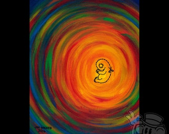 """Framed 8 x 10 Acrylic Painting on Canvas Board """"Scar Tissue"""" Fetal Fetus Child Childless Abstract"""