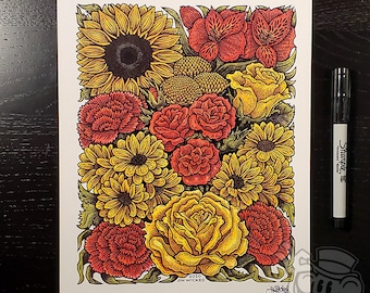 CHERRY LEMONADE Floral Bouquet Yellow Red Flowers 8.5 x 11 Signed Artwork Print by Jin Wicked