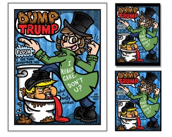 DUMP TRUMP 2020 Multi-Pack Signed Print Rectangular Button/Pin and Vinyl Sticker Limited 100 Pieces