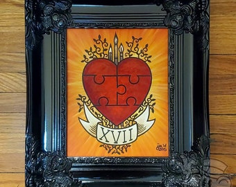 """Framed 8 x 10 Acrylic Painting on Canvas """"Whole"""" Puzzle Heart LOVE"""