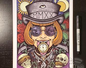 VERITAS Memento Mori Psychedelic 2020 8.5 x 11 Signed Artwork Print by Jin Wicked