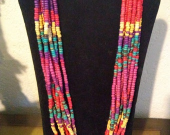 Natural Wood Bead Tribal Necklace