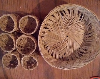 Wicker Tray and Drink Cozies