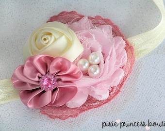Teacakes - Headband, Baby Headband, Couture Headband, Flower Headband, Shabby Chic Headband, Tea Time Headband, Vintage Headband