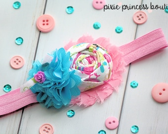 Hopscotch - Headband, Baby Headband, Photography Prop, Couture Headband, Hair Clip, Shabby Chic Headband, Spring Headband, Blue and Pink