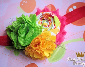 Summer Sherbet - Headband, Baby Headband, Couture Headband, Hair Clip, Shabby Chic Headband, Rolled Rosette Headband, Lime Yellow Hot Pink