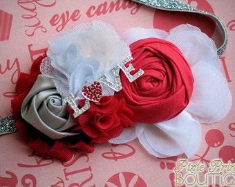 PS I Love You - Headband, Baby Headband, Photography Prop, Couture Headband, Hair Clip, Valentine's Day Headband, Valentine Rosette Headband