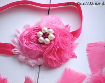 Bright Bouquet - Headband, Baby Headband, Couture Headband, Hair Clip, Photography Prop, Shabby Chic Headband, Pink Headband, Rolled Rosette