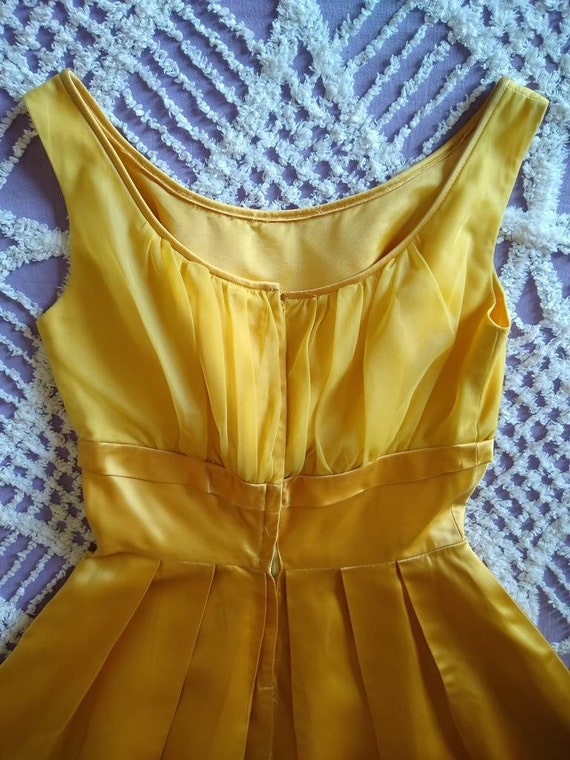 1950s golden yellow sateen and chiffon  dress - image 6