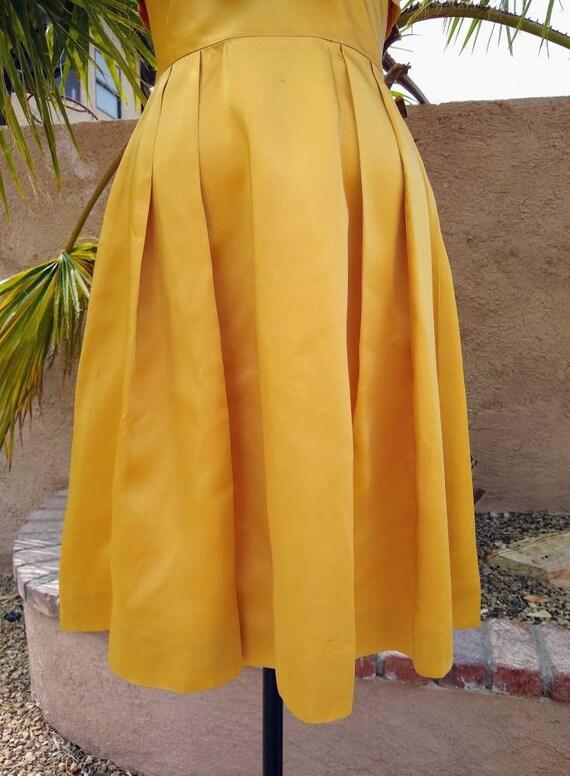 1950s golden yellow sateen and chiffon  dress - image 8