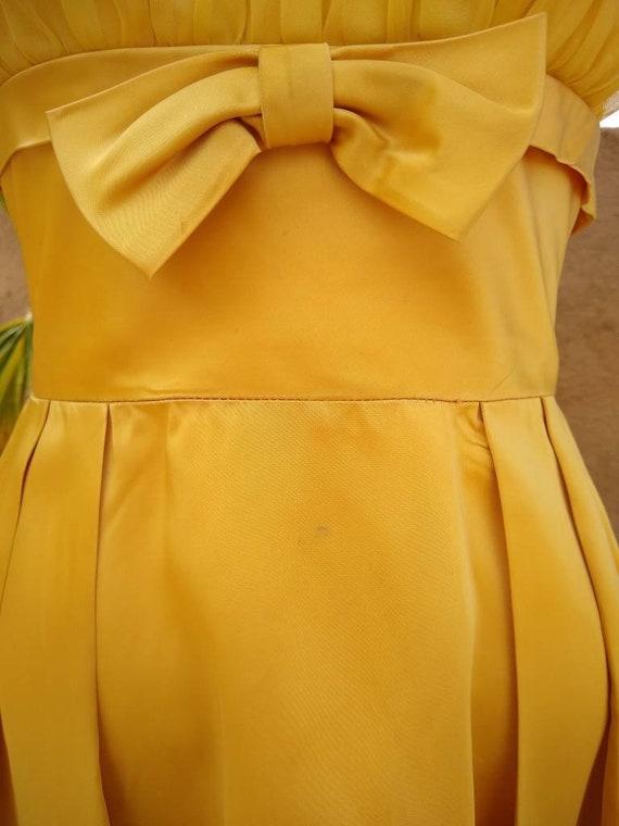 1950s golden yellow sateen and chiffon  dress - image 4