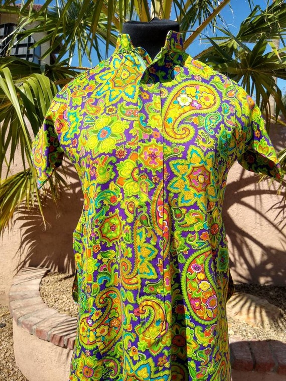 1960s psychedelic Paisley print dress - image 9