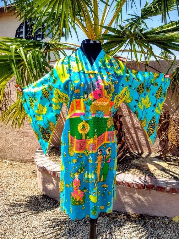 1960s Alice Polynesian Fashion Pake Muu