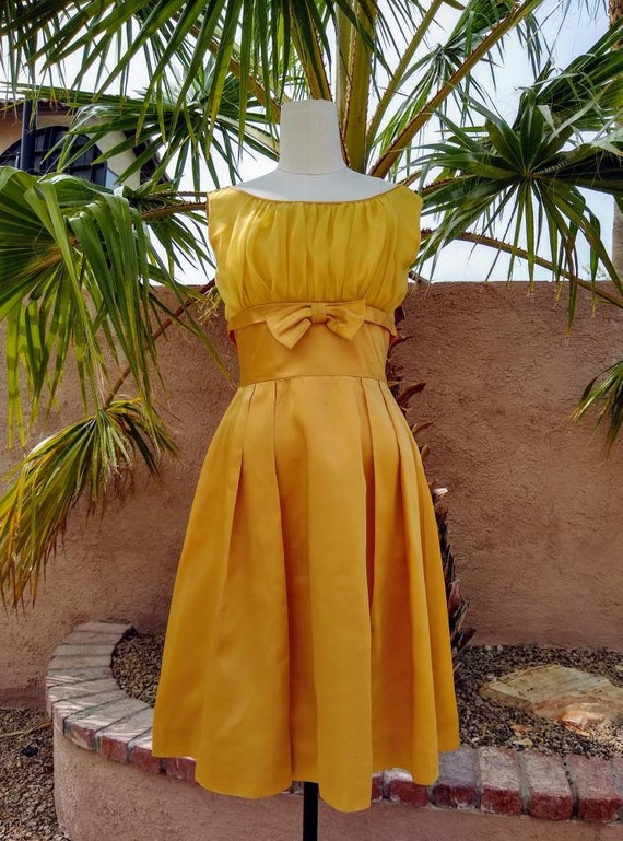 1950s golden yellow sateen and chiffon  dress