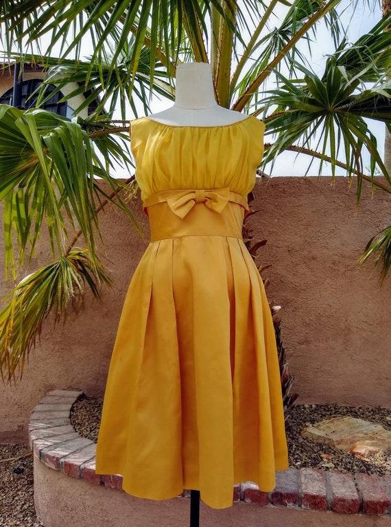 1950s golden yellow sateen and chiffon  dress - image 1