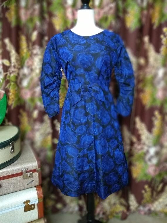 1950's Blue rose print dress.
