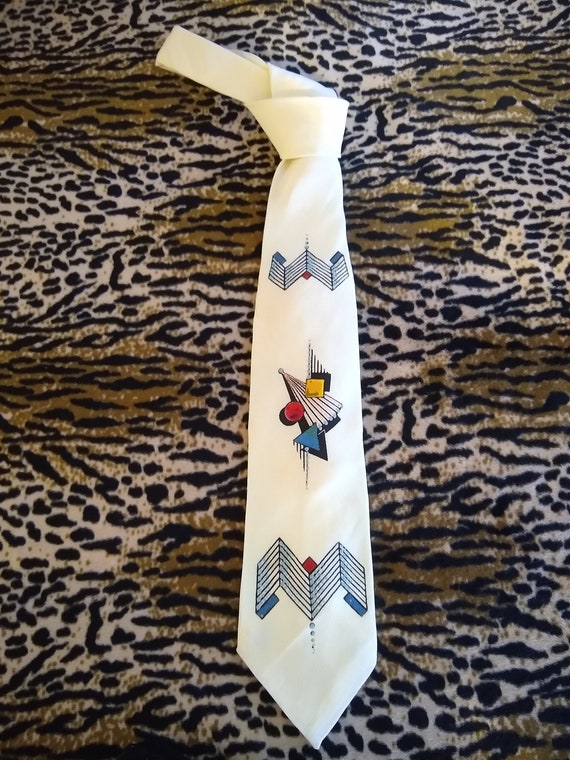 1950s Penney's Towncraft hand painted tie.