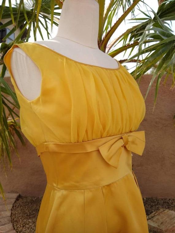 1950s golden yellow sateen and chiffon  dress - image 3