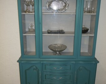 RESERVE - French Provincial China Cabinet in Teal or Peacock Blue - FOR RACHEL