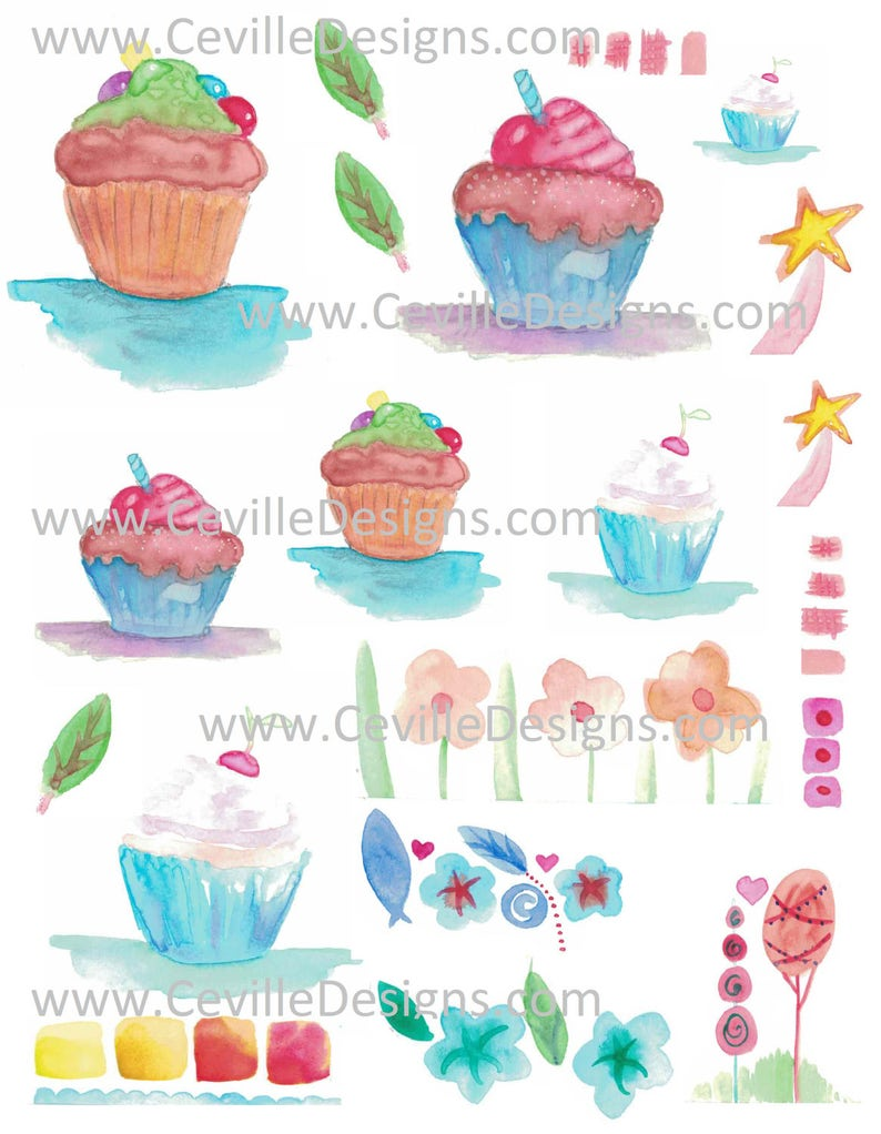 Watercolor Art Cupcakes Cherry Candy Leaves Flowers Collage image 0