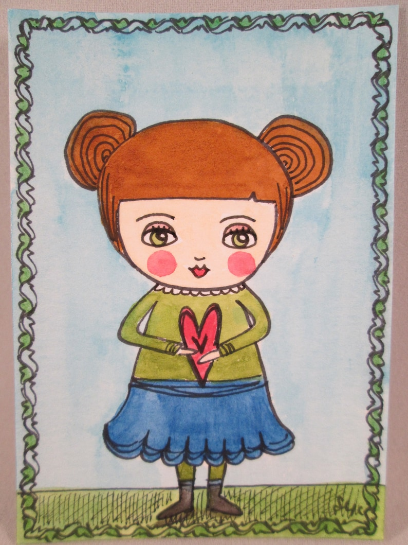 ACEO Original Watercolor Folk Art Girl and Heart Ceville image 0