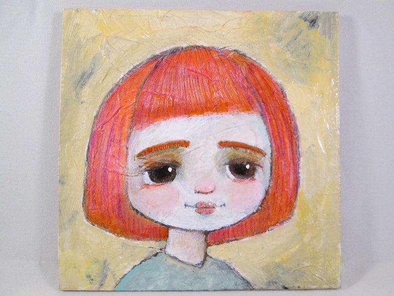 Original Mixed Media Girl Bright Hair Doe Eyes Wood Canvas image 0